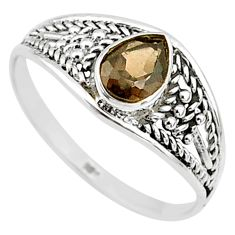 1.57cts cut smoky topaz 925 silver graduation handmade ring size 9 t9556