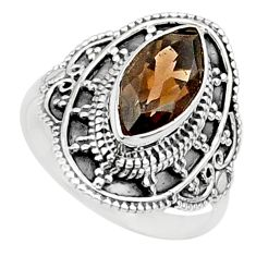 4.69cts solitaire brown smoky topaz 925 sterling silver ring size 7.5 t27021