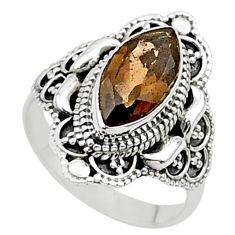 4.22cts solitaire brown smoky topaz 925 sterling silver ring size 6.5 t27024
