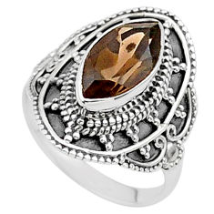 4.43cts solitaire brown smoky topaz 925 sterling silver ring size 6.5 t27030