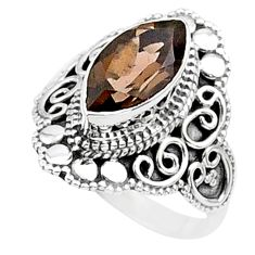 4.43cts solitaire brown smoky topaz 925 sterling silver ring size 6.5 t27144
