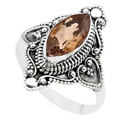 4.26cts solitaire brown smoky topaz 925 sterling silver ring size 9.5 t27146