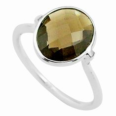 4.47cts solitaire brown smoky topaz 925 sterling silver ring size 6.5 t50741