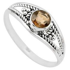 0.73cts cut smoky topaz 925 silver graduation handmade ring size 8.5 t9340