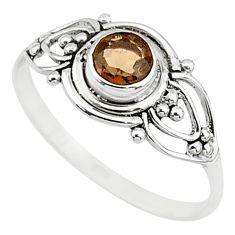 0.90cts cut smoky topaz 925 silver graduation handmade ring size 8.5 t9640