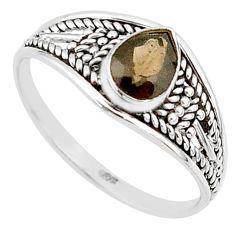 1.58cts cut smoky topaz pear 925 silver graduation handmade ring size 9 t9566