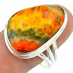 17.69cts solitaire bumble bee australian jasper 925 silver ring size 10 t54215