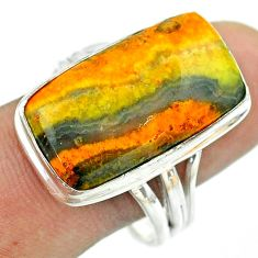 16.70cts solitaire bumble bee australian jasper 925 silver ring size 11 t54211