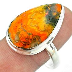17.69cts solitaire bumble bee australian jasper 925 silver ring size 11 t54217