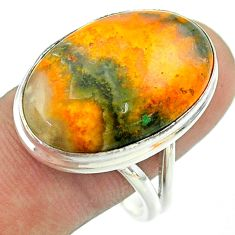18.46cts solitaire bumble bee australian jasper 925 silver ring size 11 t54220