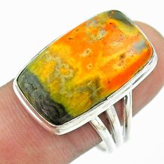 16.74cts solitaire bumble bee australian jasper 925 silver ring size 9 t54206