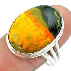 16.70cts solitaire bumble bee australian jasper 925 silver ring size 9.5 t54214