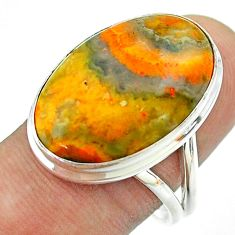 16.17cts solitaire bumble bee australian jasper oval silver ring size 9.5 t54218