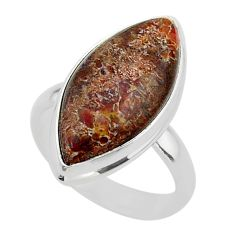 14.60cts solitaire dinosaur bone fossilized marquise silver ring size 8 t39095