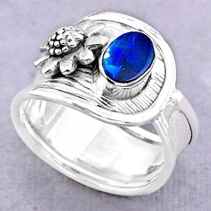 1.22cts solitaire doublet opal australian 925 silver flower ring size 7 t32474