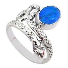 1.51cts solitaire doublet opal australian 925 silver snake ring size 7 t31974