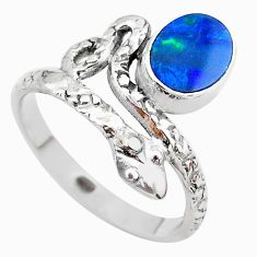 1.81cts solitaire doublet opal australian 925 silver snake ring size 9 t31983