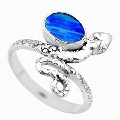 1.74cts solitaire doublet opal australian 925 silver snake ring size 9 t31986