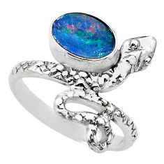 2.19cts solitaire doublet opal australian 925 silver snake ring size 6.5 t31940