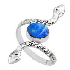 1.94cts solitaire doublet opal australian 925 silver snake ring size 10.5 t31981
