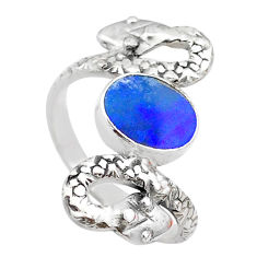 1.92cts solitaire doublet opal australian 925 silver snake ring size 7.5 t31982