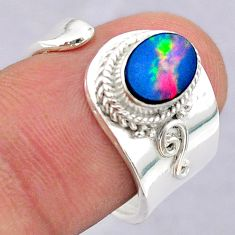 1.81cts solitaire doublet opal australian silver adjustable ring size 7 t32081