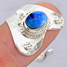 1.74cts solitaire doublet opal australian silver adjustable ring size 7 t32083