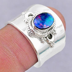 1.71cts solitaire doublet opal australian silver adjustable ring size 7 t32088