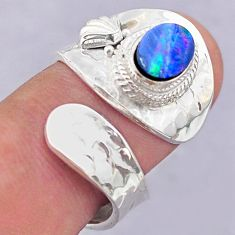 1.81cts solitaire doublet opal australian silver adjustable ring size 7 t32095