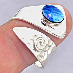 1.46cts solitaire doublet opal australian silver adjustable ring size 9 t32082