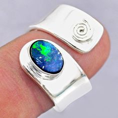 1.79cts solitaire doublet opal australian silver adjustable ring size 7.5 t32084