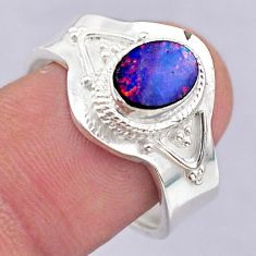 1.74cts solitaire doublet opal australian silver adjustable ring size 7.5 t32091