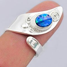 1.82cts solitaire doublet opal australian silver adjustable ring size 8.5 t32096