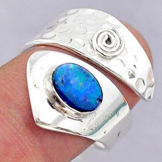 1.76cts solitaire doublet opal australian silver adjustable ring size 8.5 t32097