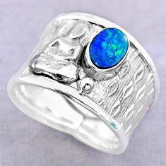 Solitaire doublet opal australian silver buddha meditation ring size 7.5 t32476