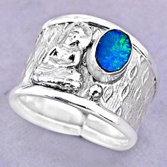 Solitaire doublet opal australian silver buddha meditation ring size 7.5 t32485