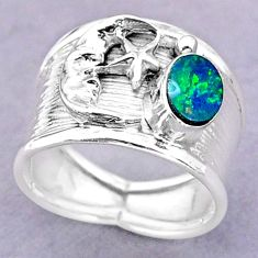Solitaire doublet opal australian silver crescent moon star ring size 7 t32492