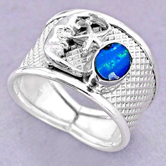 Solitaire doublet opal australian silver crescent moon star ring size 8.5 t32487