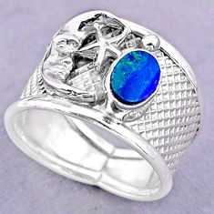 Solitaire doublet opal australian silver crescent moon star ring size 7.5 t32491