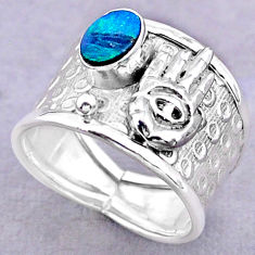 Solitaire doublet opal australian silver hand of god hamsa ring size 8 t32470