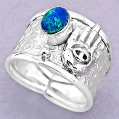 Solitaire doublet opal australian silver hand of god hamsa ring size 6.5 t32490