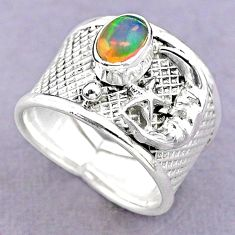 1.51cts solitaire ethiopian opal silver crescent moon star ring size 7 t32366