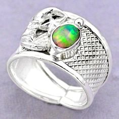 1.50cts solitaire ethiopian opal silver crescent moon star ring size 7 t32371