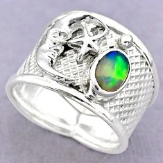 1.46cts solitaire ethiopian opal silver crescent moon star ring size 7 t32375