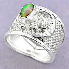 1.58cts solitaire ethiopian opal silver crescent moon star ring size 8 t32368