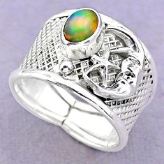 1.51cts solitaire ethiopian opal silver crescent moon star ring size 7.5 t32367