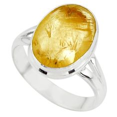6.70cts solitaire faceted golden rutile 925 sterling silver ring size 7.5 r51303