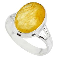 6.72cts solitaire faceted golden rutile 925 sterling silver ring size 8.5 r51316