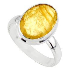 6.72cts solitaire faceted golden rutile 925 sterling silver ring size 8.5 r51318