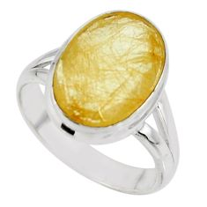 6.39cts solitaire faceted golden rutile 925 sterling silver ring size 6.5 r51320